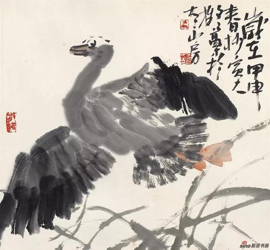 王迎春作品《振翮》45cm × 48cm 2004