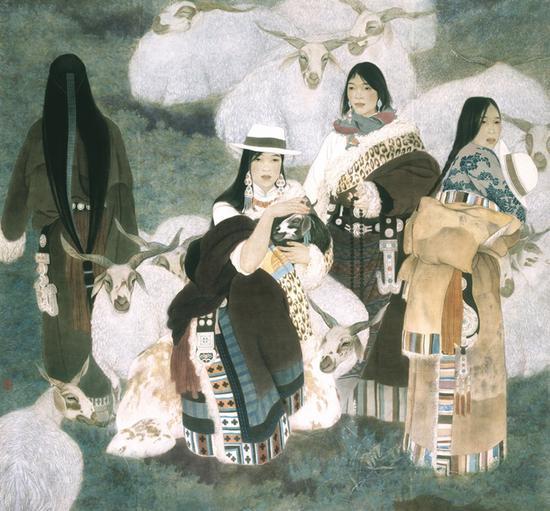 6。李峰《心原》中国画 180cm×180cm 1994年 中国美术馆藏
