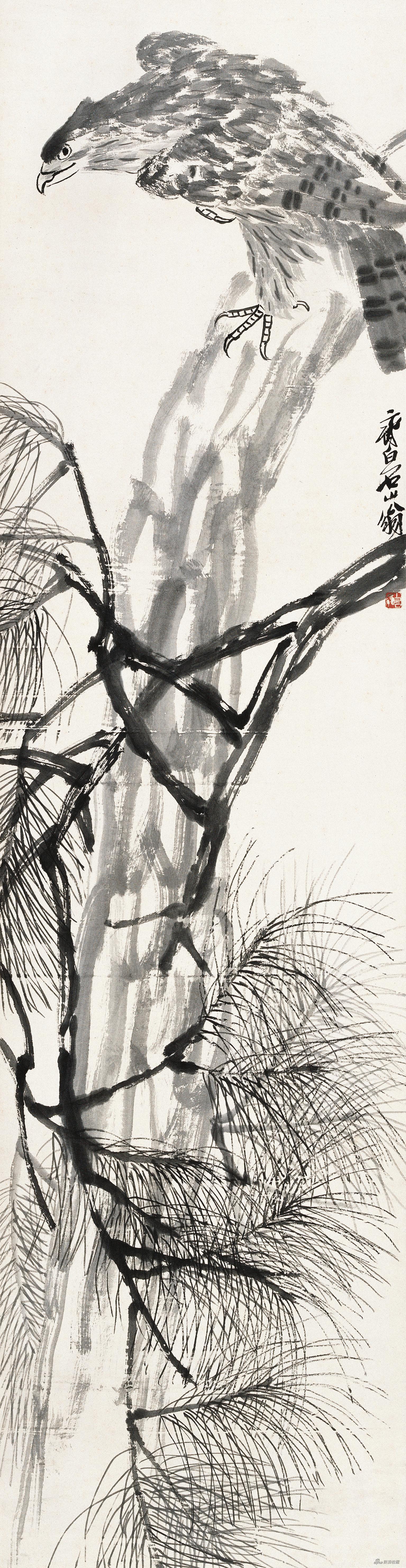 松鹰图 齐白石 182cm×47cm 无年款 纸本水墨 北京画院藏