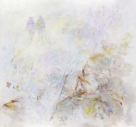 5《执手天涯》鸥洋 140cm×150cm 麻布、胶砂、油彩 2012年