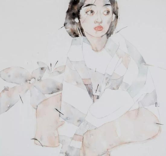 岳小飞 《听花》 56×60cm 纸本水墨 2017