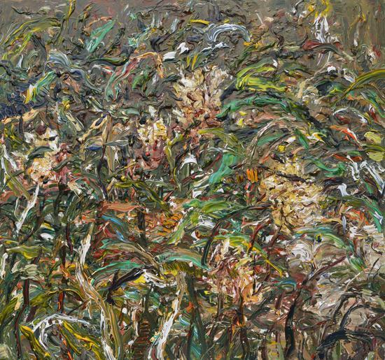 《叶脉雅黄》Yellow Leave Veins 2015年11月150cm160cm 布面丙烯 Acrylic on canvas (参加法国2016年第108届巴黎秋季艺术沙龙展) (1)