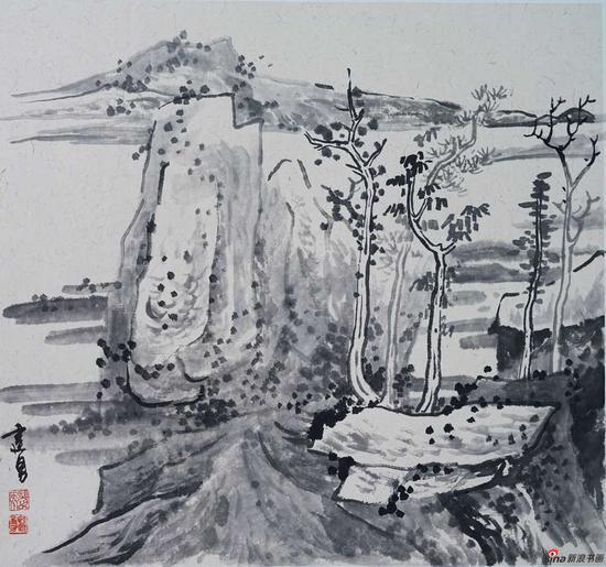 杨建勇《秋树与石》46X49cm 2018