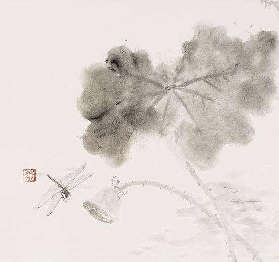 石茹,蜻蜓,纸本水墨,33x33cm,2017