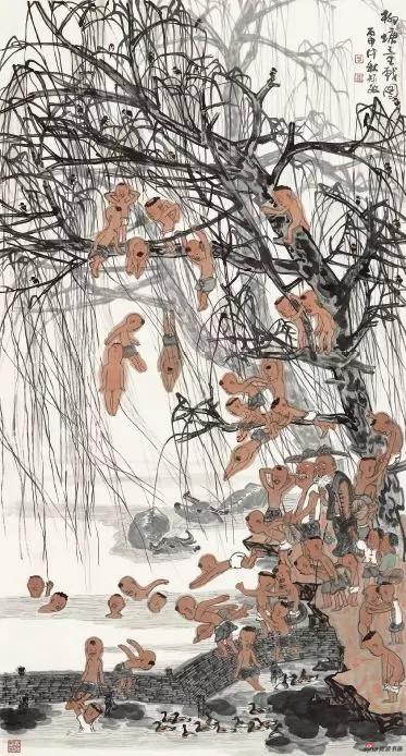 《柳塘童戏图》 180cm×99cm 周矩敏 江苏省中国画学会副会长