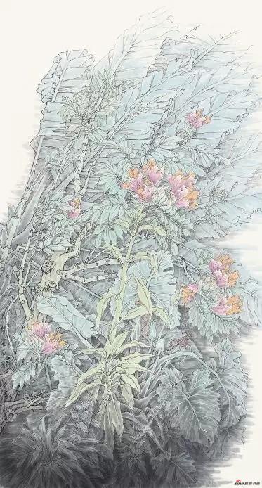 《火焰花开耀南国》 180cm×96cm 孟怀良 江苏省中国画学会常务理事