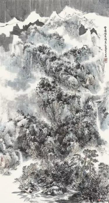 《云溪倚苍岭》 180cm×96cm 毛晓剑 江苏省中国画学会副会长