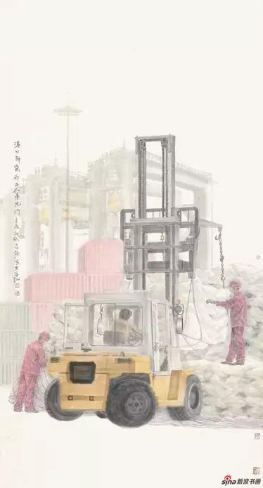 《港口卸货的工人兄弟们》 180cm×96cm   古 强