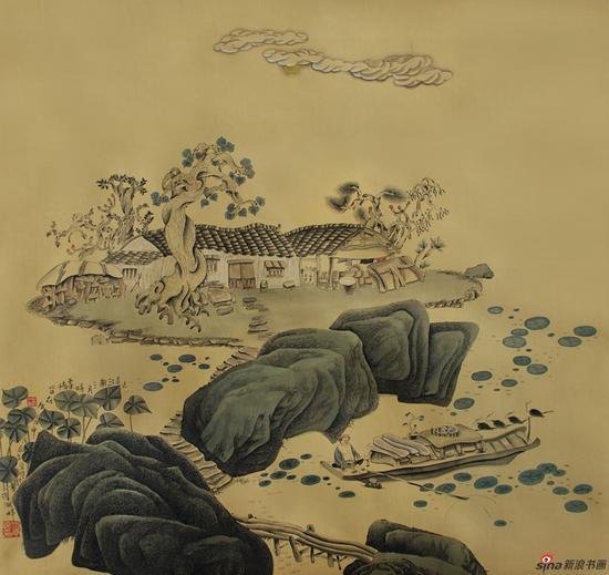 方学晓作品《正是江南三月时》68.7x73.5cm 1988年