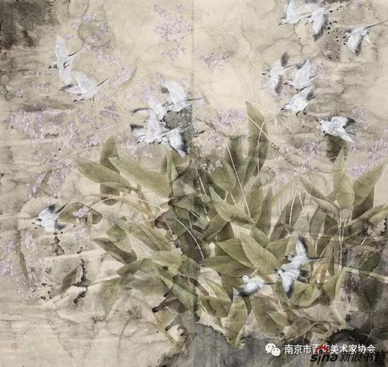 陈思孝?鸟语花香?176cm×188cm?中国画?2014年