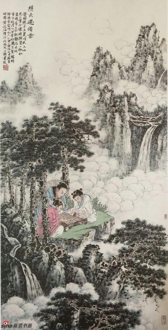 《樵夫遇仙图》,69cmX136cm,2010年,黄廷海作