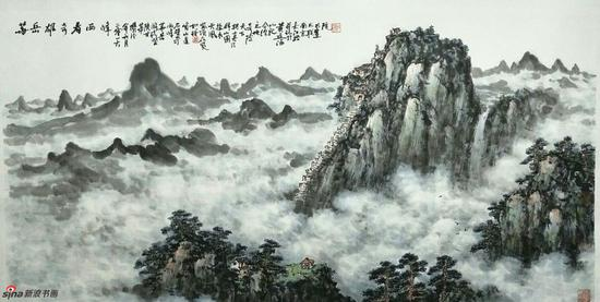 《华岳雄奇看西峰》,69cmX136cm,2016年,黄廷海作