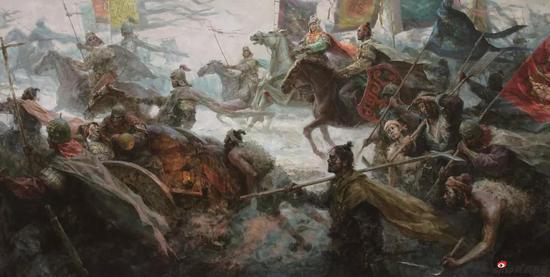 《木兰頌系列之二征途》155x300cm 油画