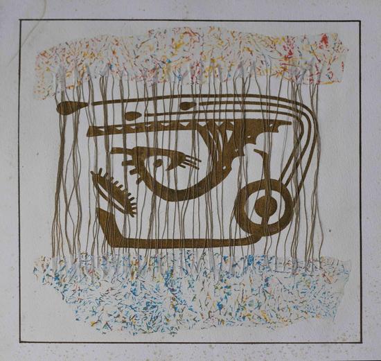 《早期作品No·8》综合材料、纸本,49×49cm,1998~2001年