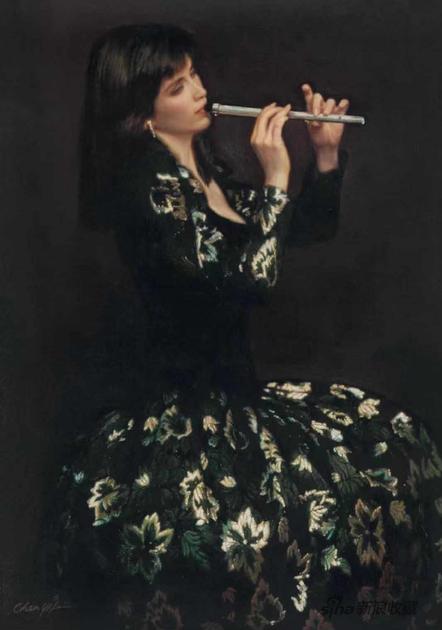 陈逸飞 箫 布面油画 107×76.5cm 1988年