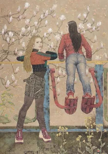 《健身时代》 173cm×122cm 桑建国 江苏省中国画学会理事