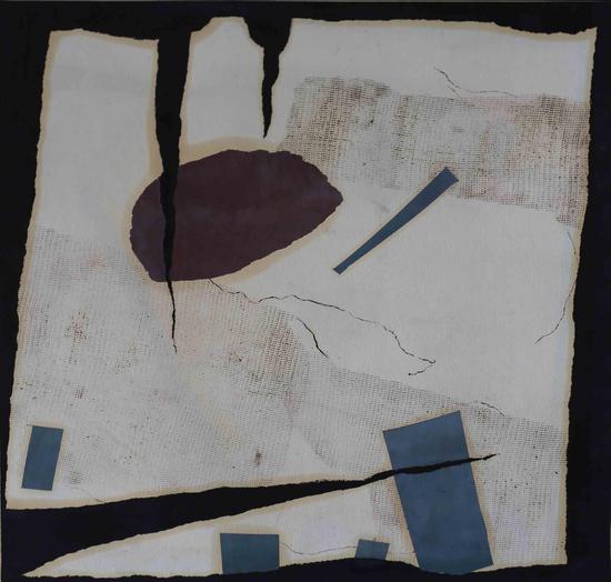 《裂隙No·2》综合材料,纸本,49×49cm,1998~2001年