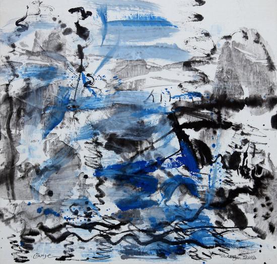 郑连杰作品《旅途的浪潮》,2018年,水墨丙烯,134 x 68 cm,?郑连杰工作室