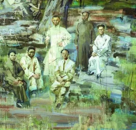 孙建平《1935年春天的一次文人雅集》(局部)布面油画 200x250cm