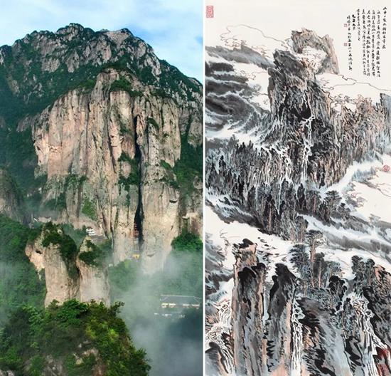 雁荡山(左)与本作