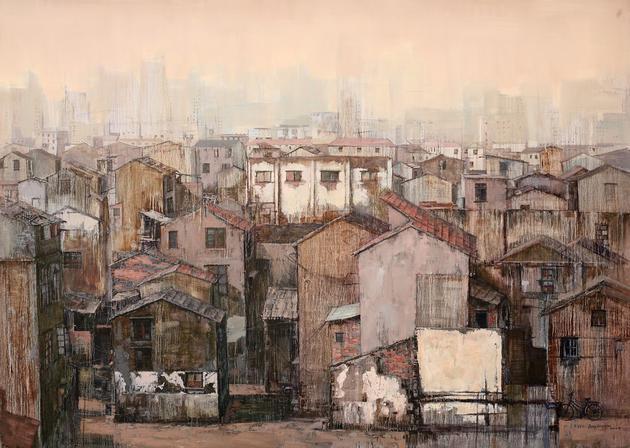 城市。风景 210x150cm 布面油画