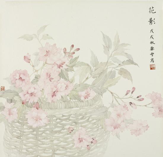 韩雪,花影,纸本设色,38x38cm,2018