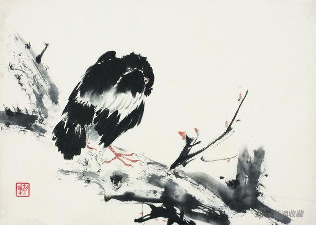 小鸟20世纪70年代26cm×36.5cm私家藏黎雄才