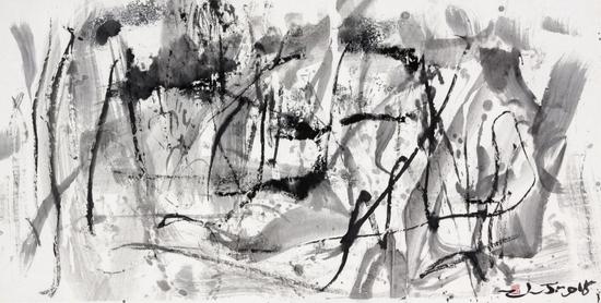 郑连杰作品《华岳系列蓝梦11号》,2015年,水墨,134 x 68 cm,?郑连杰工作室
