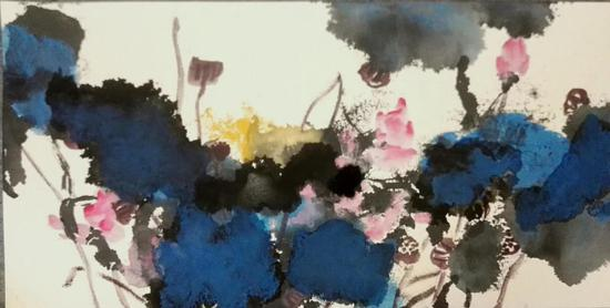 《故園花开》50x100cm 水墨 纸卡