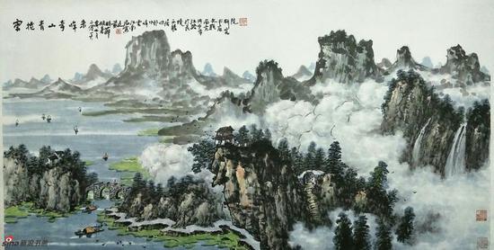 《云卷青山奇峰来》,69cmx136cm,2016年,黄廷海作
