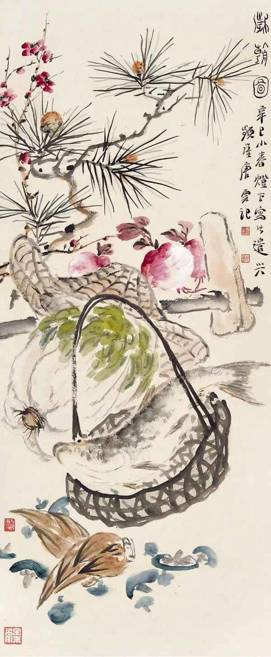 Lot236 唐云 岁朝图   立轴 设色纸本   辛巳(1941年)作
