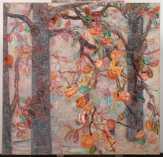 36《柿子树的练习》贾涤非 150cm×145cm 布面油画 2014年