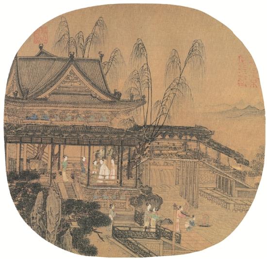 宋 李嵩 水殿招凉图 24.5×25.4cm