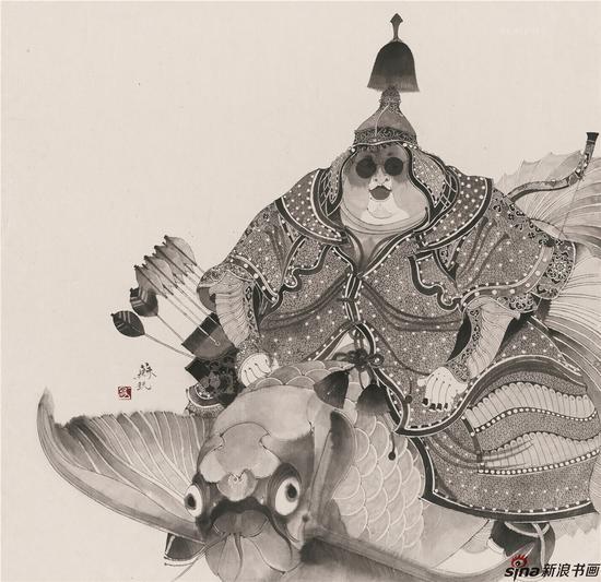 《将军》90×90cm,纸本水墨,2011
