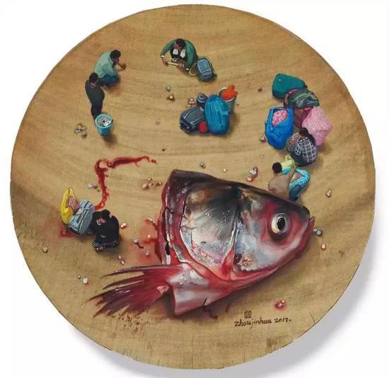 周金华 《砧板》 34x34cm 木板、丙烯、油彩 2013