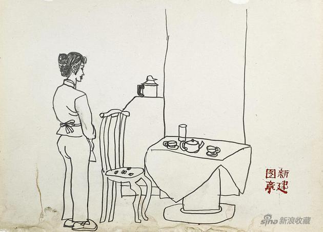 画堂春之美人写生2-25.5x18cm-纸本速写