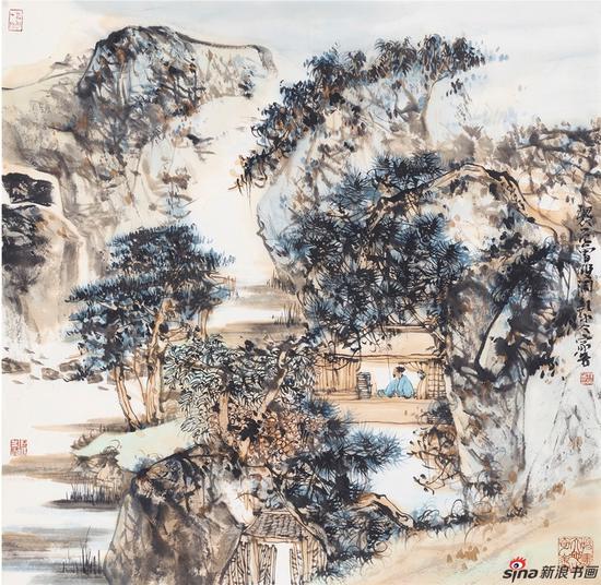 汪家芳 双调·新水令 国画 70x70cm