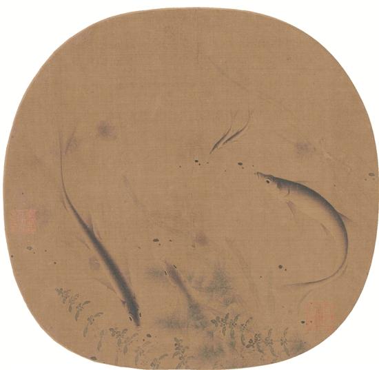 宋 佚名 群鱼戏藻图 48×38cm
