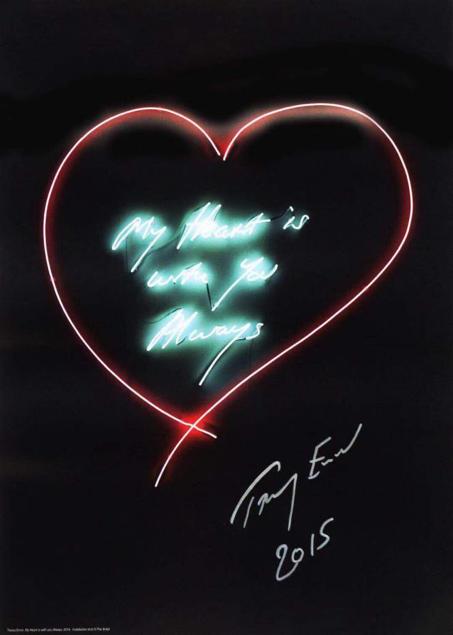 翠西 艾敏 My Heart is with You, Always 70 x 50 彩印海拔,签名 Tracey Emin
