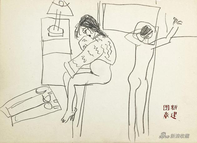 画堂春之美人写生7-25.5x18cm-纸本速写