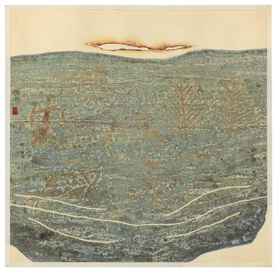 王鸿海《水》 水彩画 37×37cm 1992年