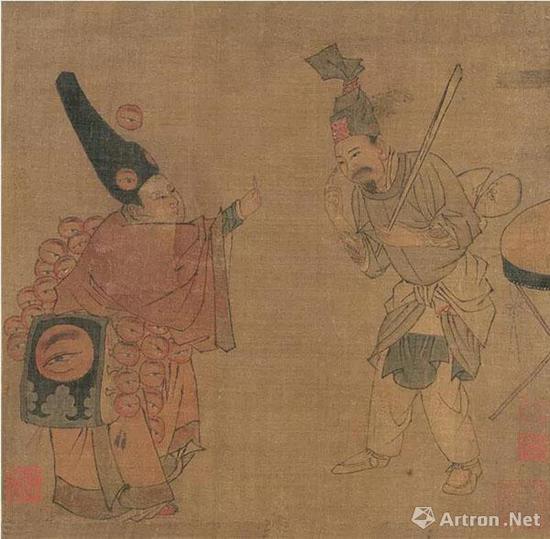 (宋)佚名 杂剧(卖眼药)图页 绢本设色   纵28.4厘米 横25厘米 北京故宫博物院藏