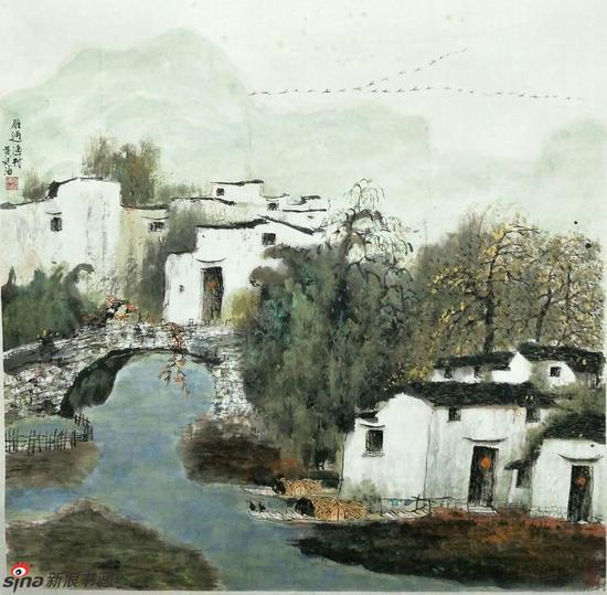 《雁过渔村》,69cmX69cm,1999年,黄廷海作