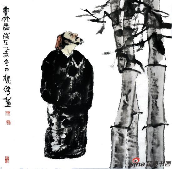 魏杰作品《东坡赏竹》68X68cm 2015