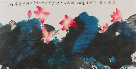 8。冯今松《莲花礼赞》中国画 69cm×138cm 2000年 湖北美术馆藏