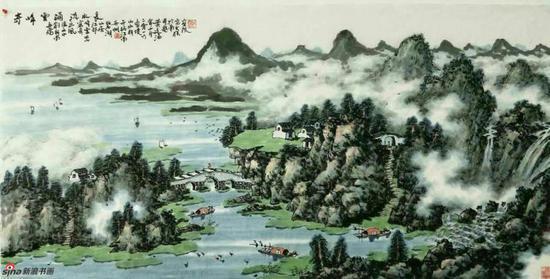 《奇峰云涌流水长》,69cmx136cm,2016年,黄廷海作