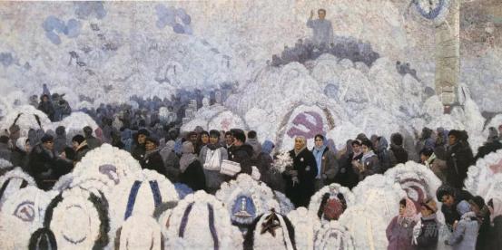 李天祥、赵友萍 《寒凝大地发春华》 150×300cm 布面油画1979年