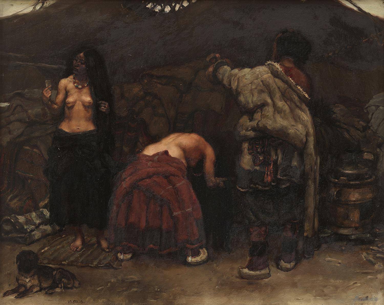 洗發女 板上油畫 54x68cm 1980年