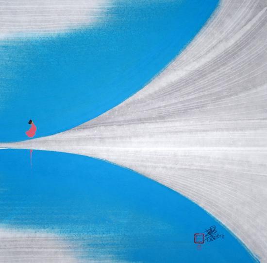 山色惊湖光(2) 作品材质:纸本水墨 作品尺寸:38×38cm 创作年代:2017年