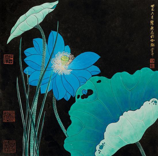 陈无忌-工笔荷花-33×33cm